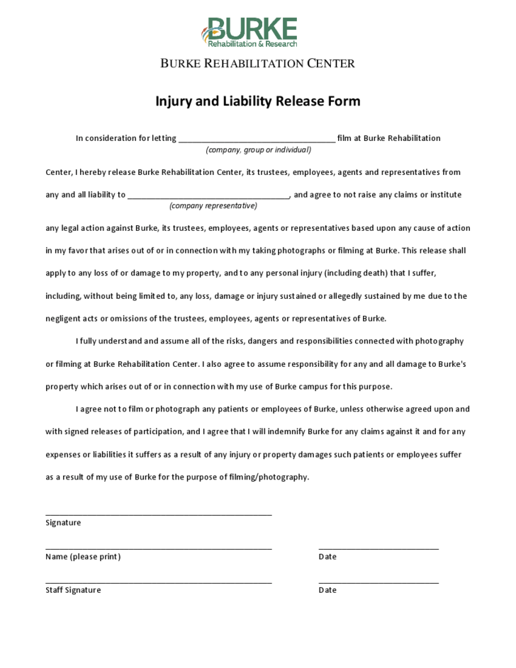 Injury and Liability Release Form Free Download