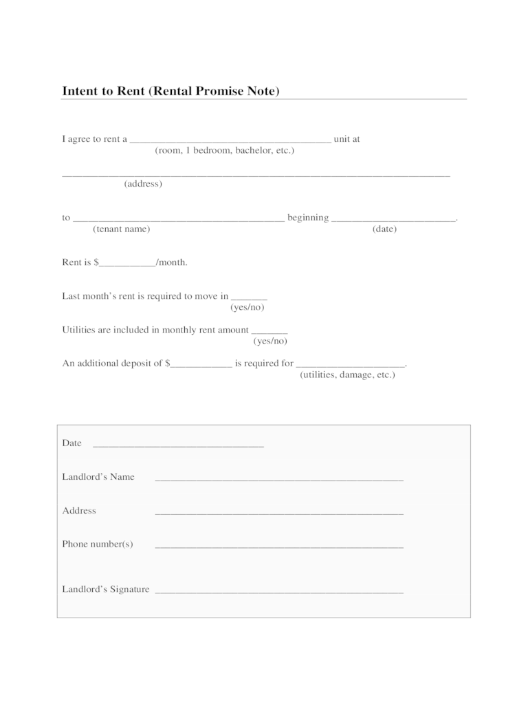 Intent to Rent Form  2 Free Templates in PDF Word Excel Download