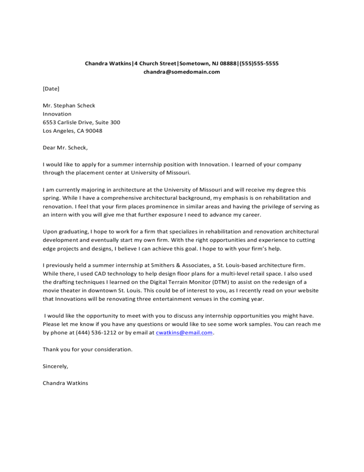 Summer Internship Cover Letter Free Download