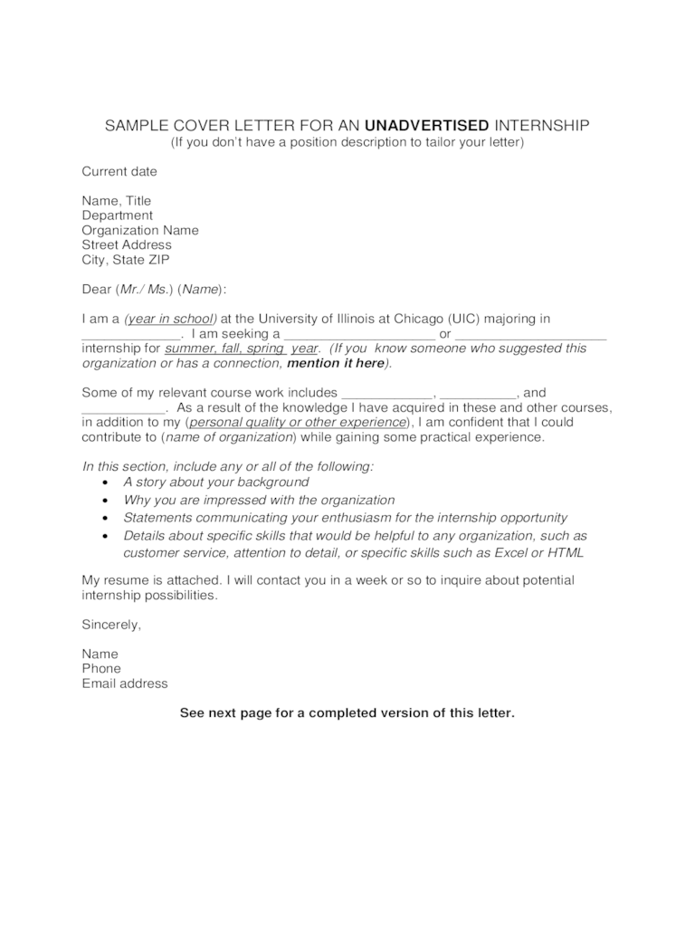Internship Cover Letter Examples  9 Free Templates in PDF