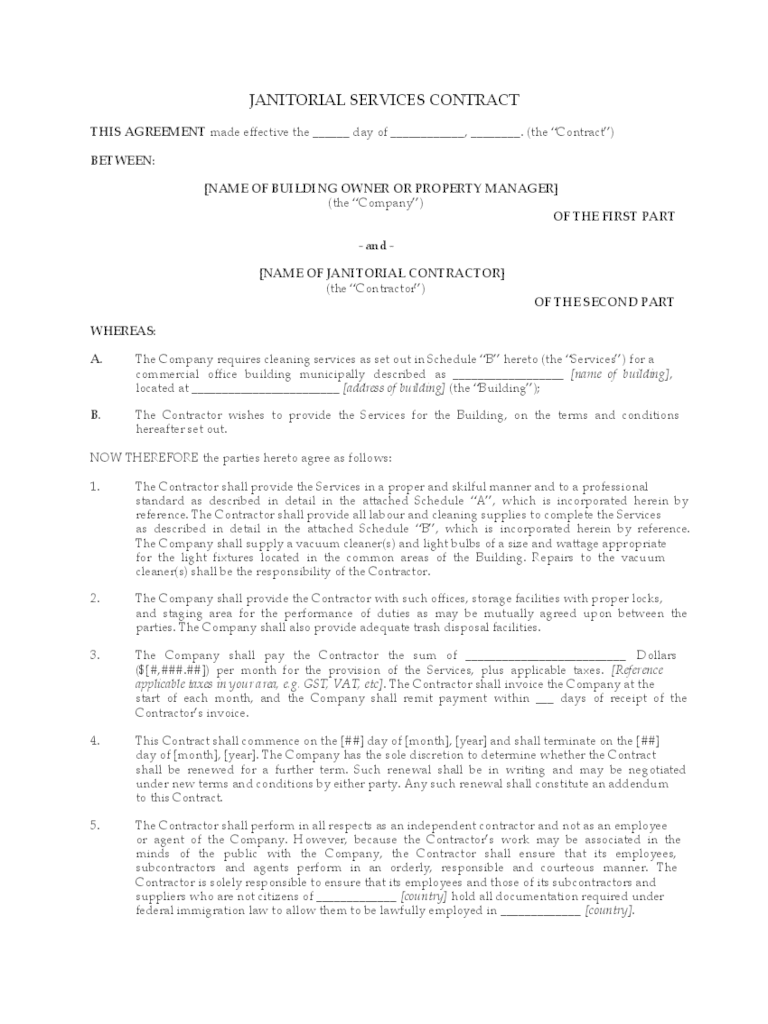 Janitorial Contract Template 2 Free Templates In PDF