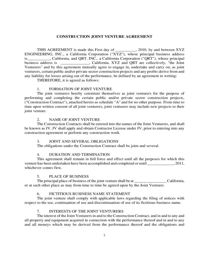 Construction Joint Venture Agreement Form Free Download