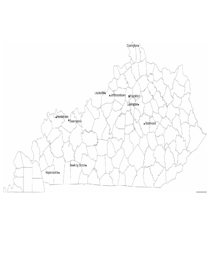 Map of Kentucky Cities with City Names Free Download