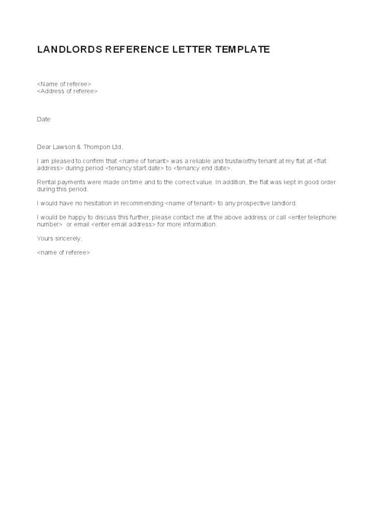 Landlord Reference Letter Template  5 Free Templates in PDF Word Excel Download