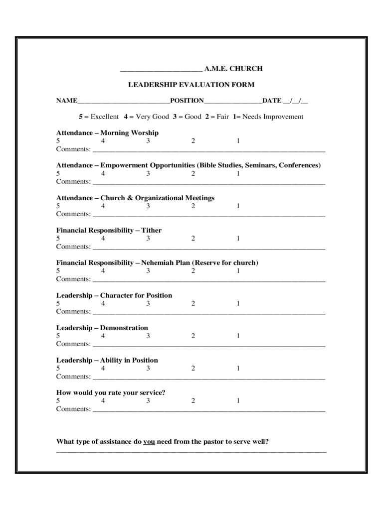 Leadership Evaluation Form  2 Free Templates in PDF Word Excel Download