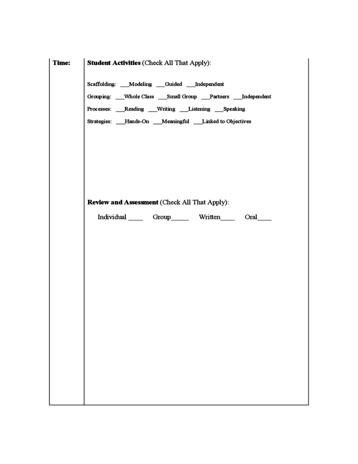 SIOP Lesson Plan Template Free Download