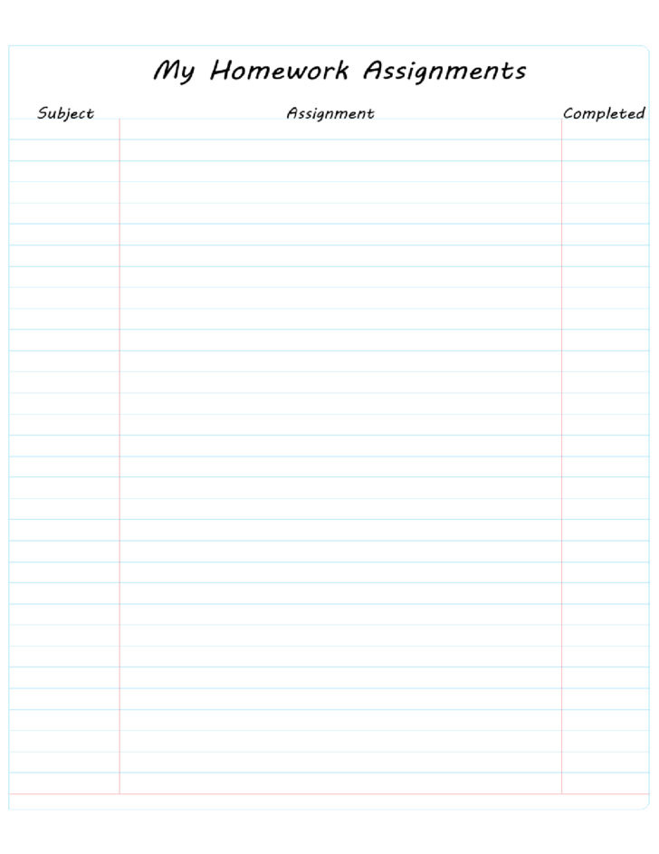 Homework Lined Paper Chart for Kids Free Download