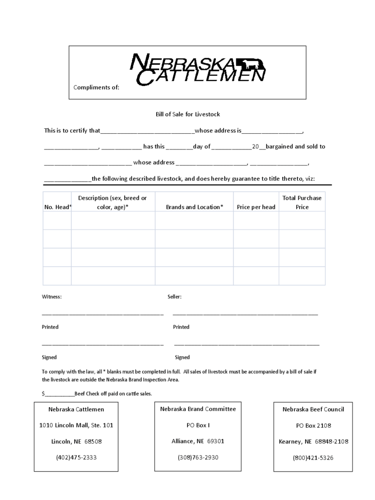 Livestock Bill Of Sale Form - Nebraska