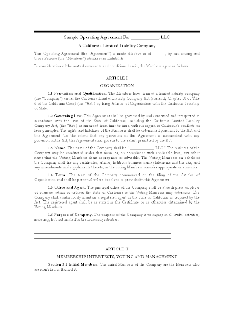 Download free limited liability company (llc) operating agreements which allow the owners, known as 'members', to create a. Llc Operating Agreement Template 6 Free Templates In Pdf Word Excel Download
