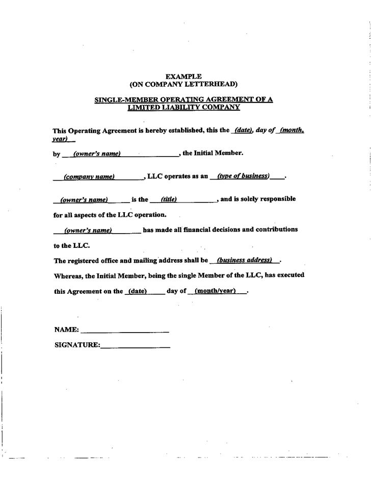 business operating agreement sample