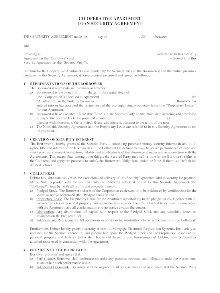 Sample Co-Operative Apartment Loan Security Agreement