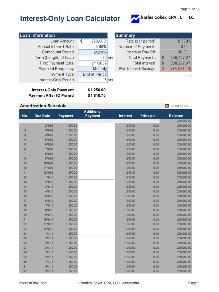 interest only loan calculator with extra payments