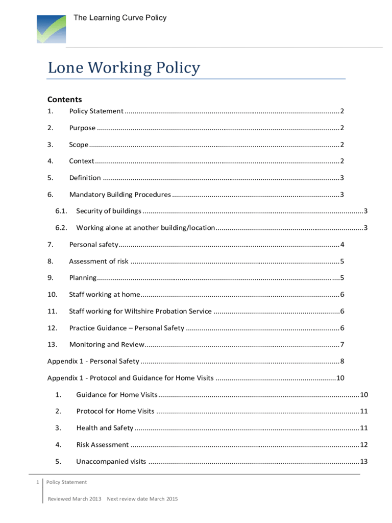 Lone Working Policy Template 2 Free Templates In PDF