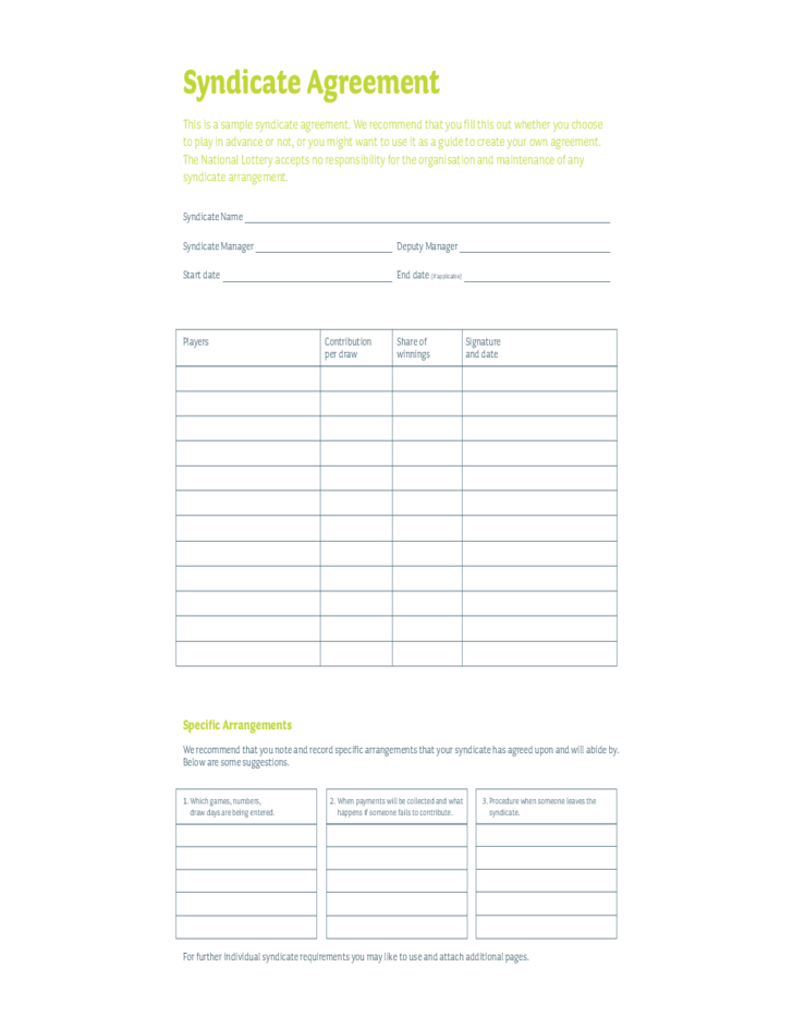 Euromillions Syndicate Agreement Template
