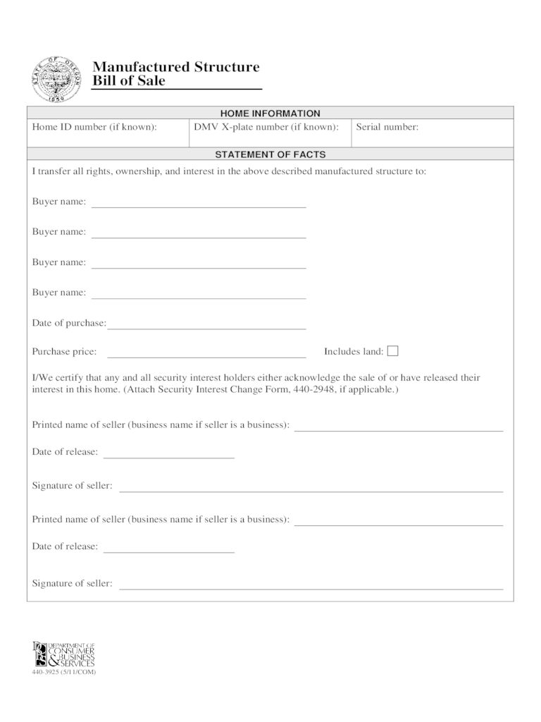 Manufactured Home Bill Of Sale Form - Oregon