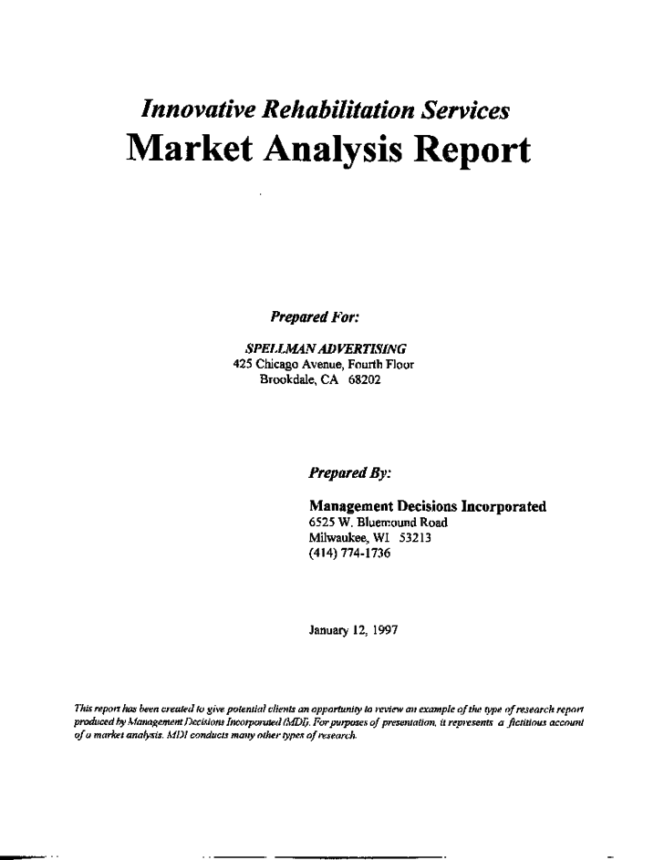 Market Analysis Report Example Research Management