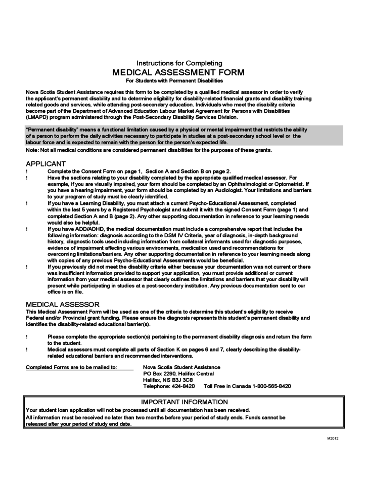 MEDICAL ASSESSMENT FORM For Students With Permanent