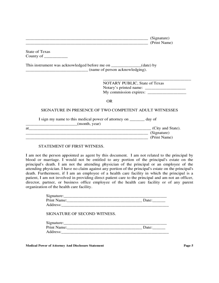 Medical Power Of Attorney And Disclosure Statement Texas Free Download