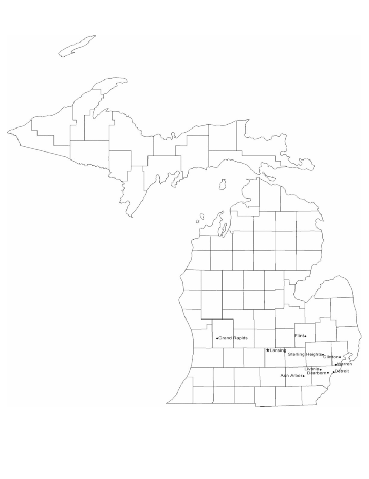 Map of Michigan Cities with City Names Free Download