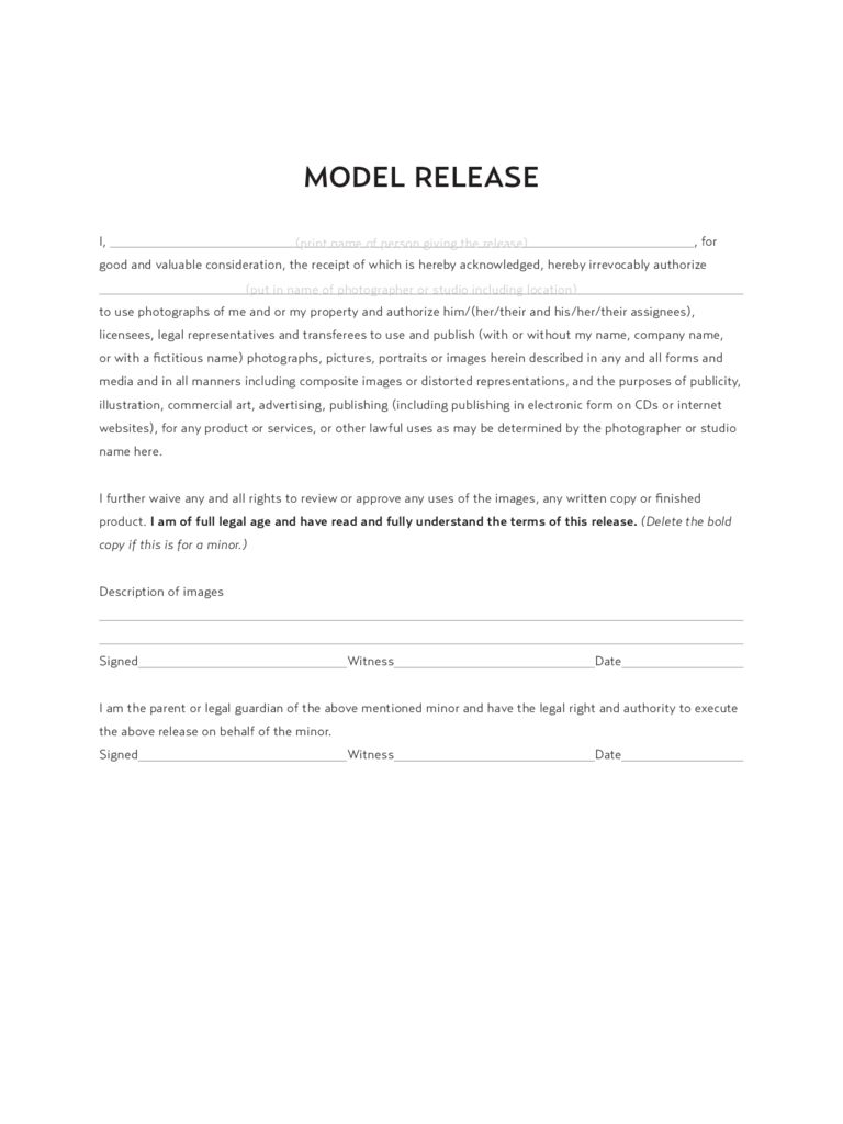 Model Release Form  8 Free Templates in PDF Word Excel