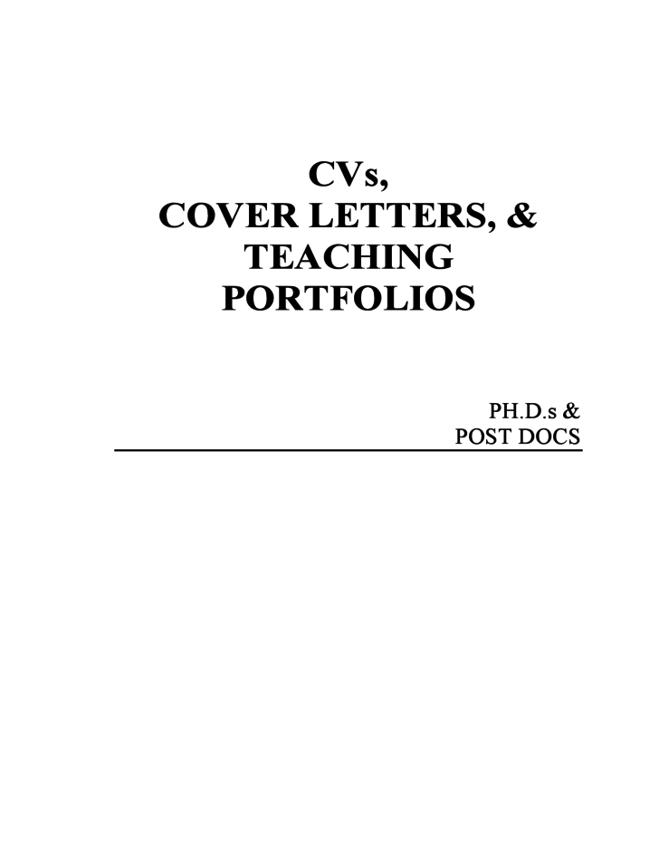 CVs, Cover Letters & Teaching Portfolio Free Download