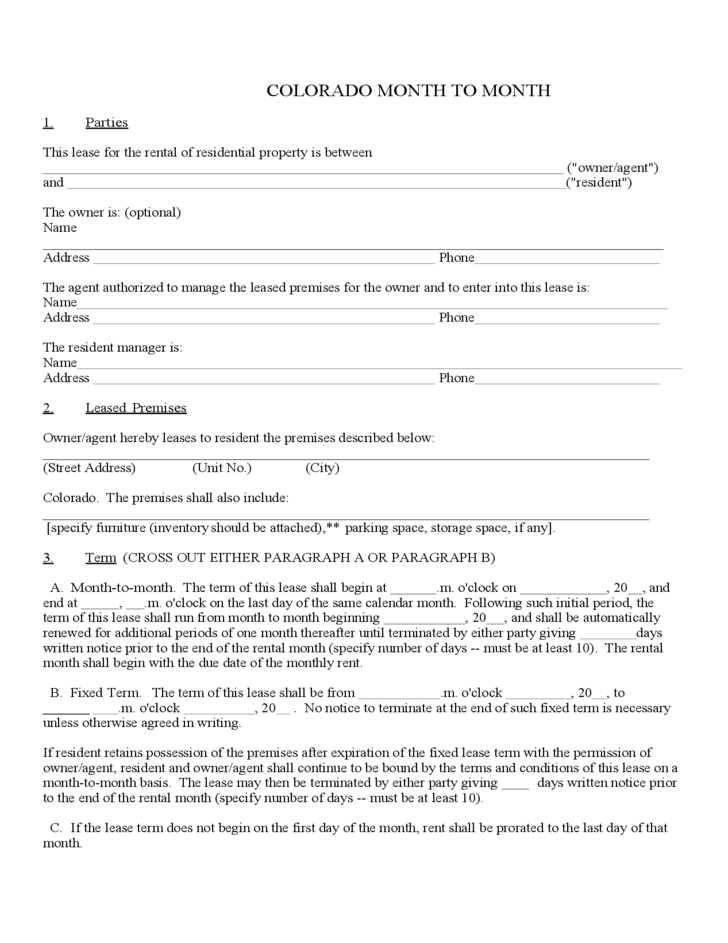 Indiana Lease Agreement Form