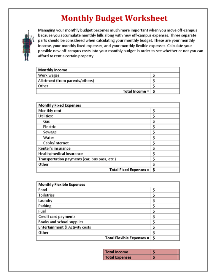monthly income and expense worksheet