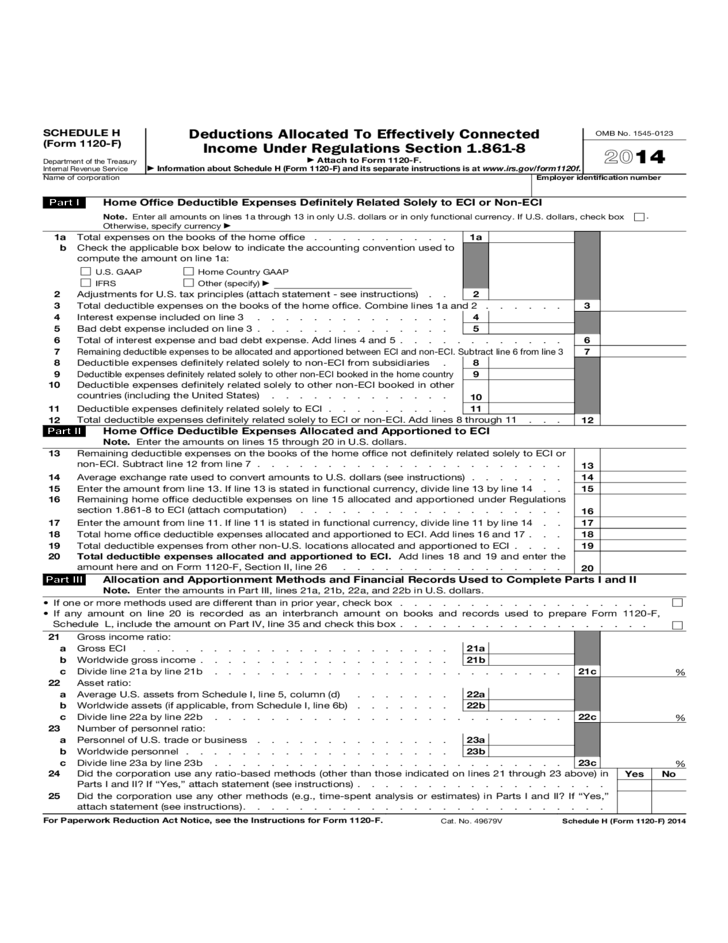 Form 1120F Schedule H  Deductions Allocated to Effectively Connected Income 2014 Free Download