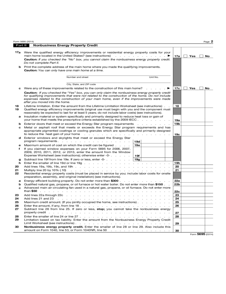 Form 5695 Residential Energy Credits 2014 Free Download