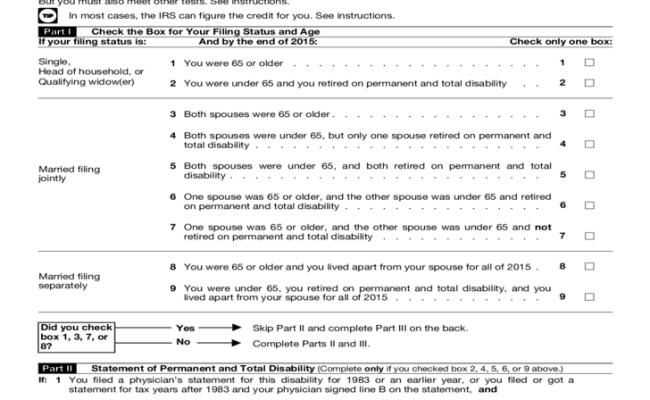 Form 1040 Schedule R Credit Form For The Elderly Or