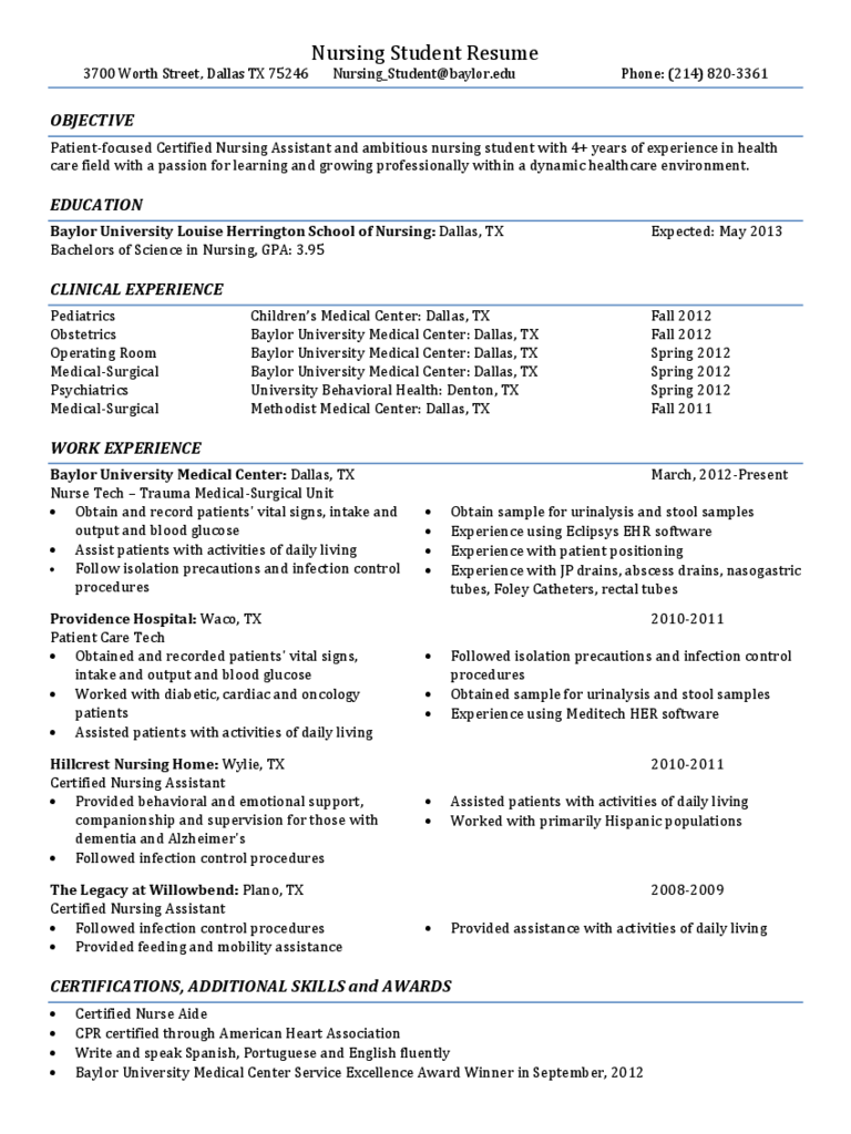 Nursing Student Resume - Baylor University