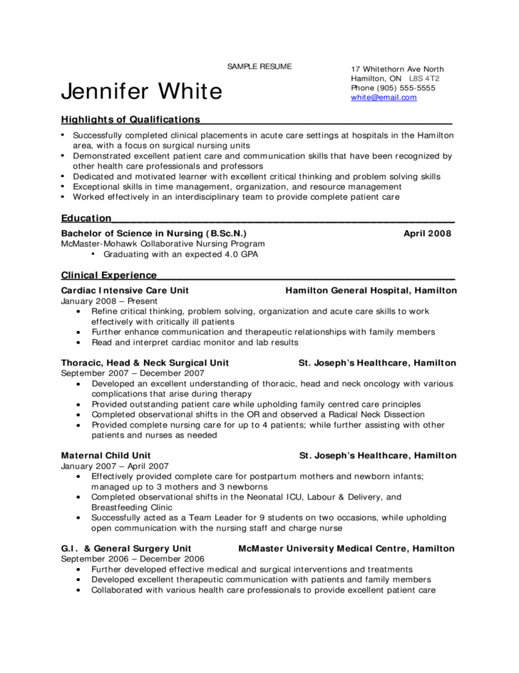 Sample Resume for Nursing Students Free Download