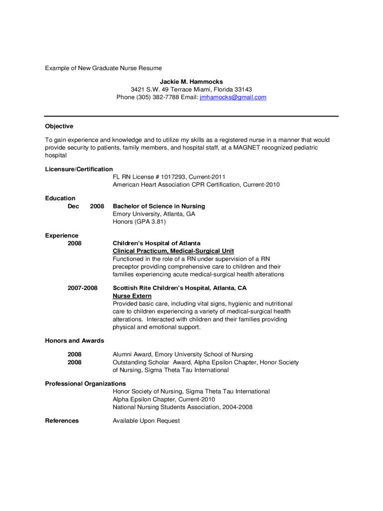New Grad Nursing Resume Examples Examples Of Resumes  New Grad Nurse Resume