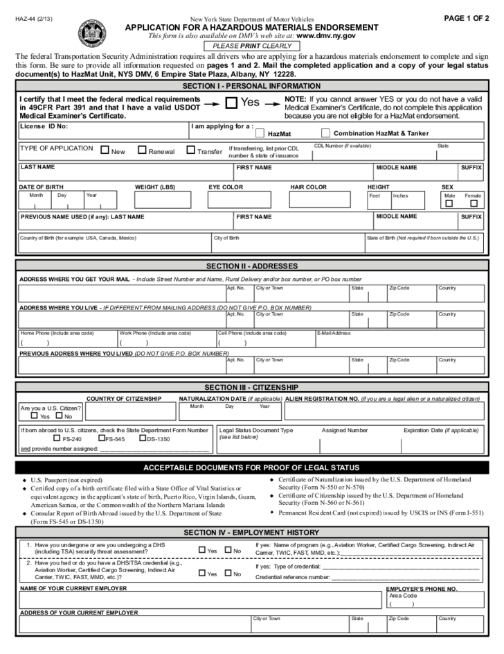 Form HAZ44  Application for a Hazardous Materials