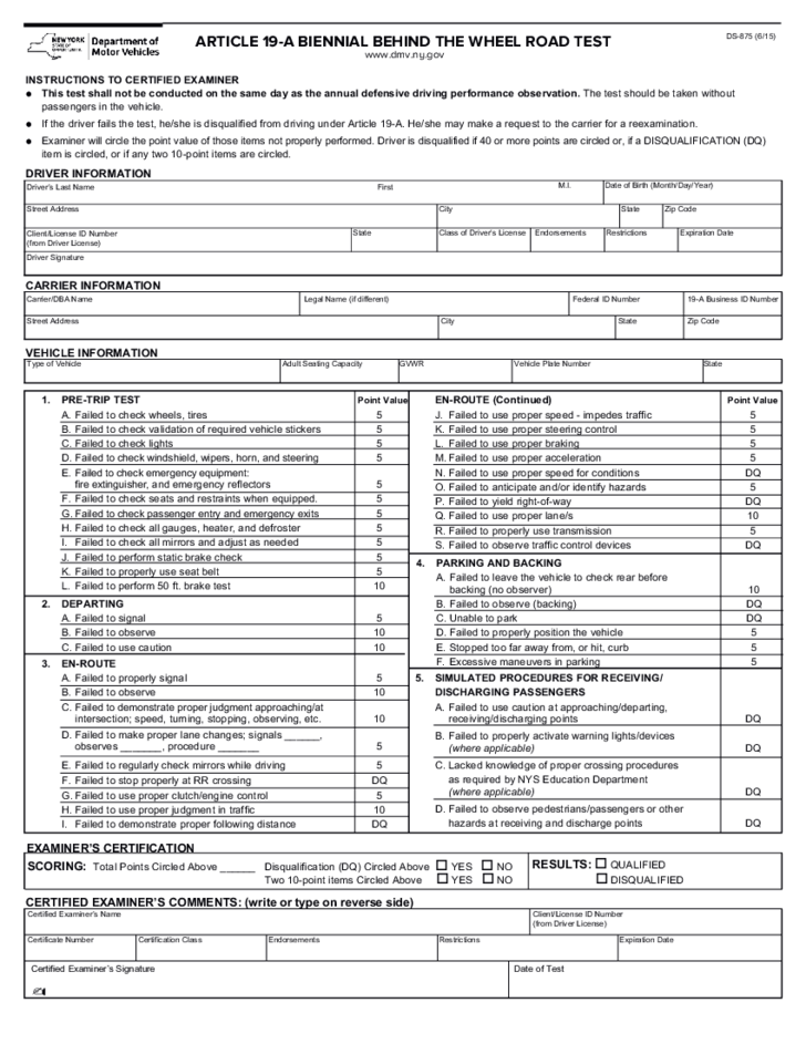 New York State Department Of Motor Vehicles Road Test Evaluation ...