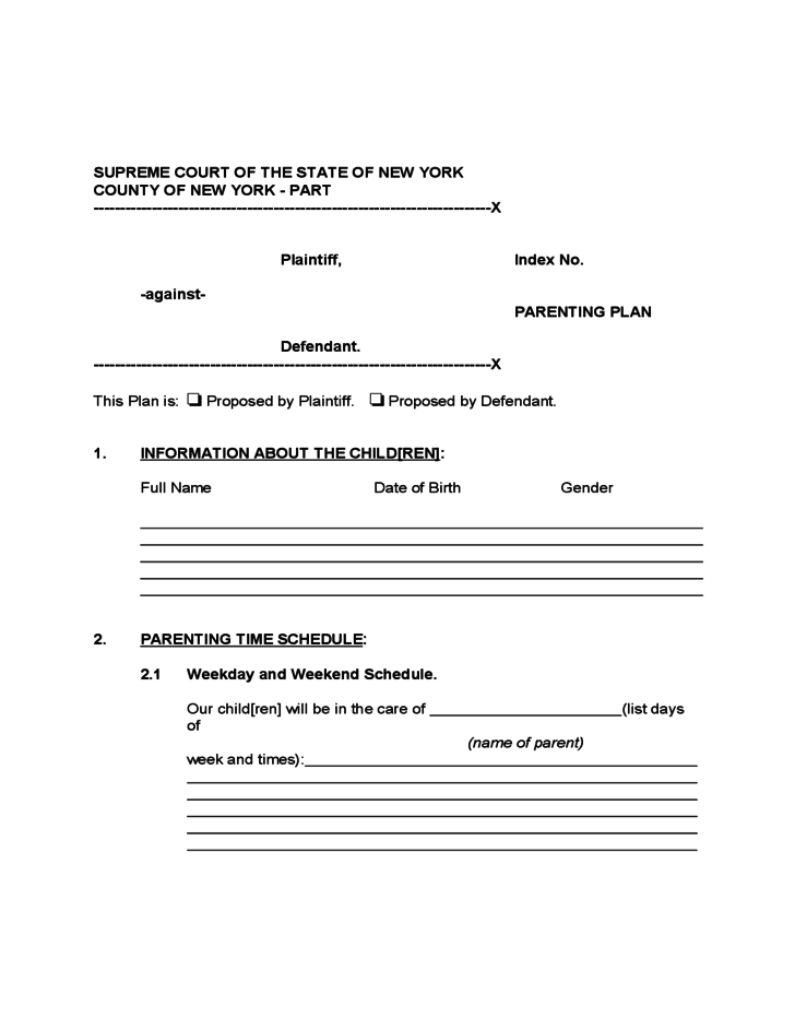 Parenting Plan Form New York Free Download