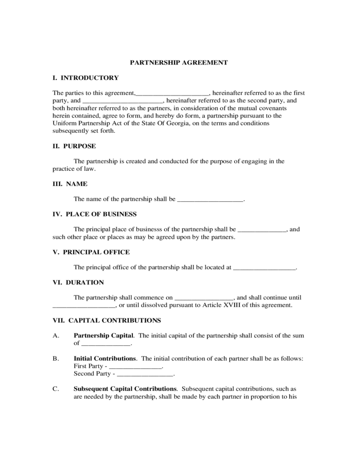 Partnership Agreement Form Georgia Free Download