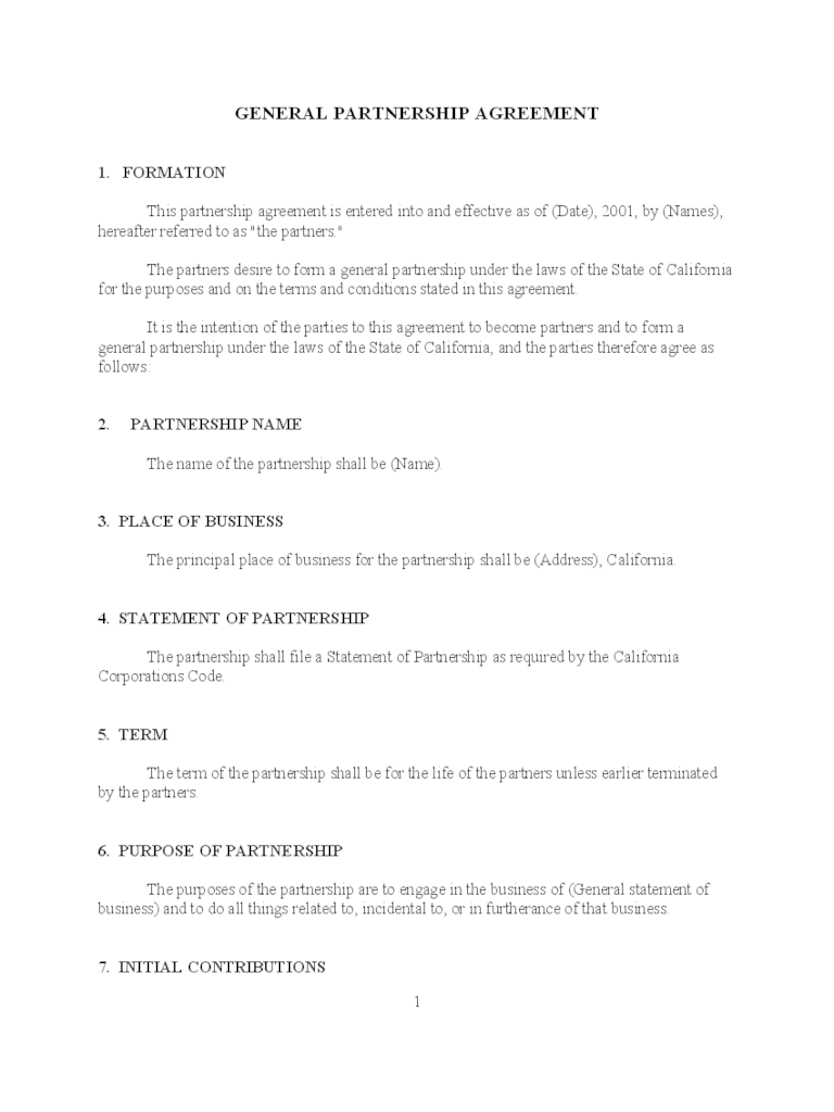 Partnership Agreement Form  6 Free Templates in PDF Word