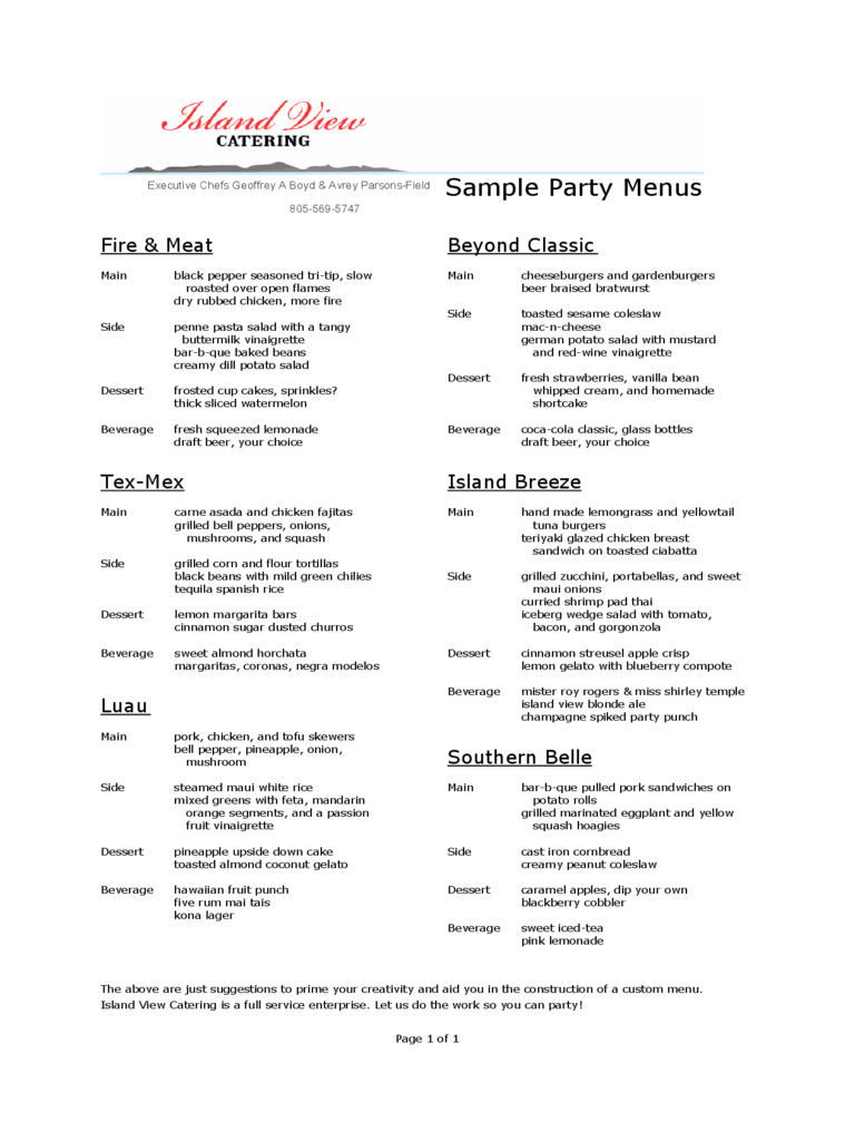 Party Menu Template 3 Free Templates In PDF Word Excel Download