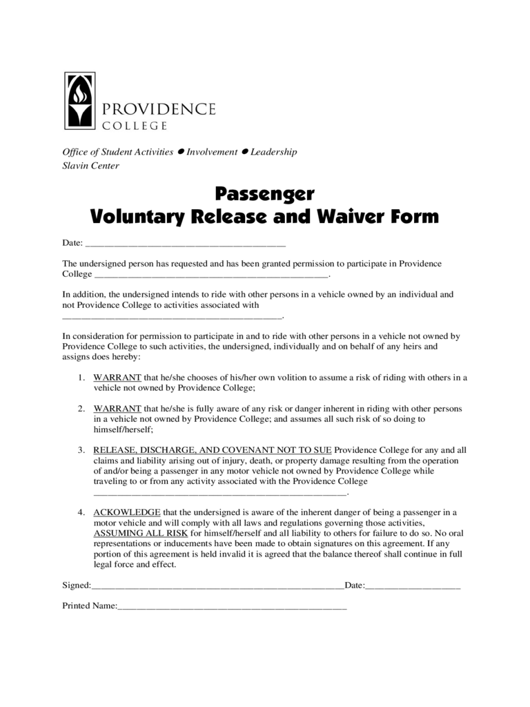 Passenger Waiver Form 3 Free Templates In PDF Word