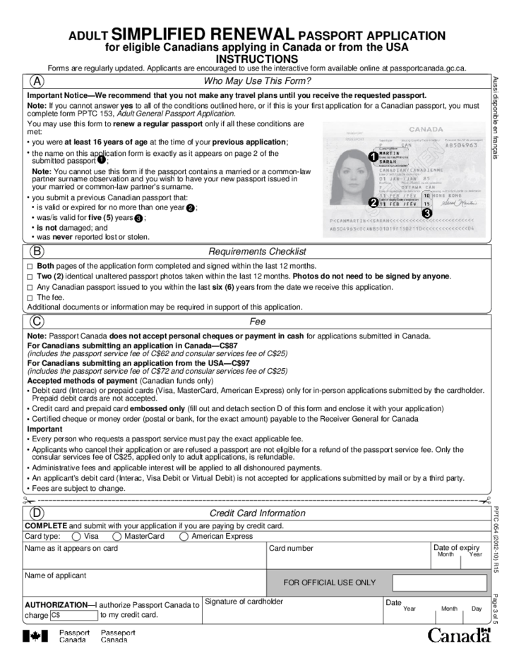 Adult Renewal Passport Application For Eligible Canadians