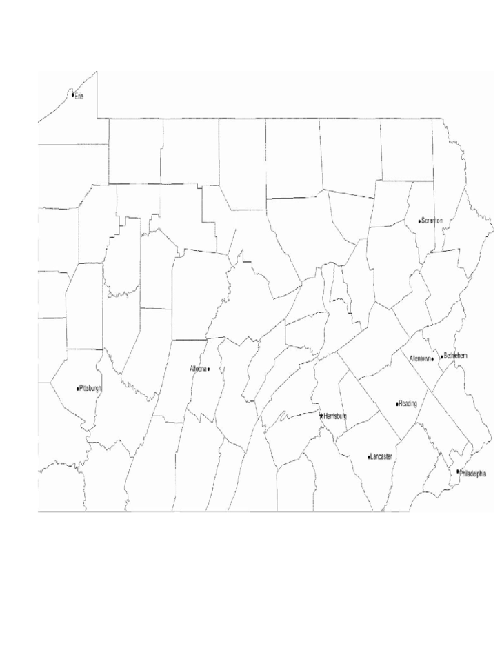 Map of Pennsylvania Cities with City Names Free Download