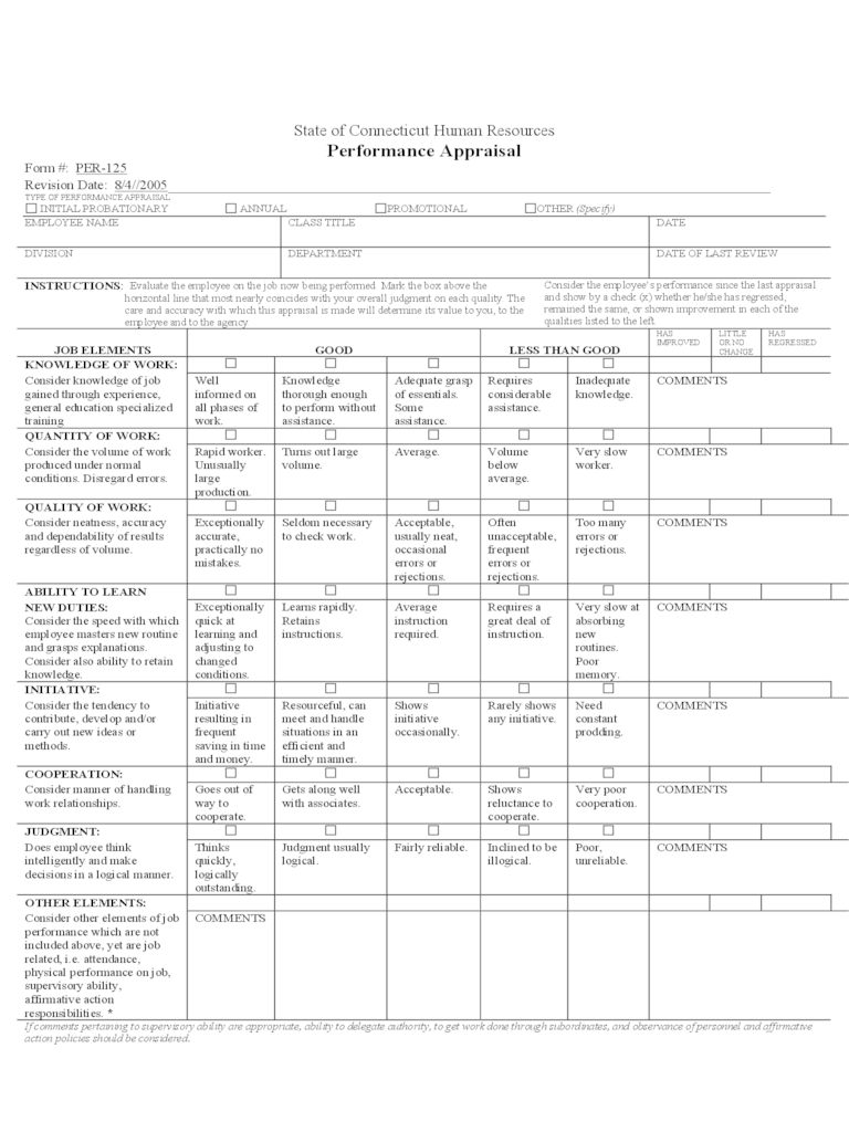 Performance Evaluation Form 5 Free Templates In PDF