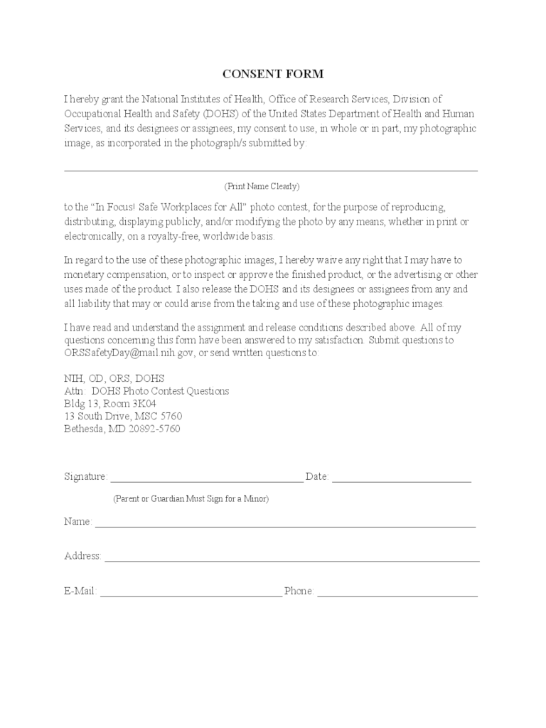 Photography Consent Form 2 Free Templates In PDF Word