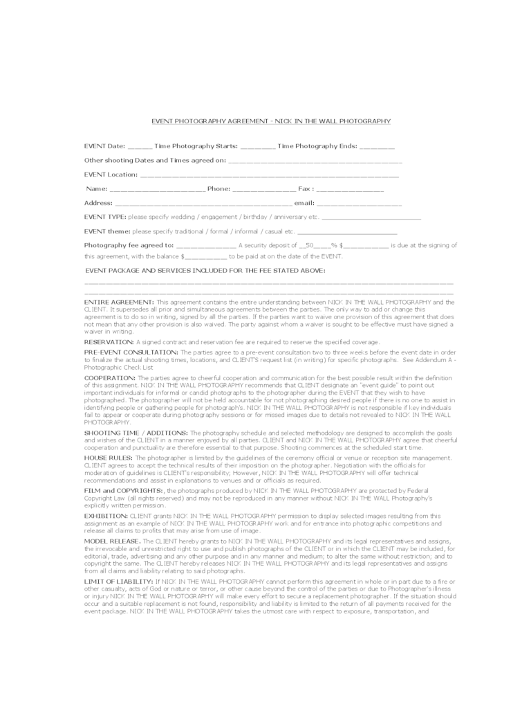 Photography Contract Template  6 Free Templates in PDF Word Excel Download