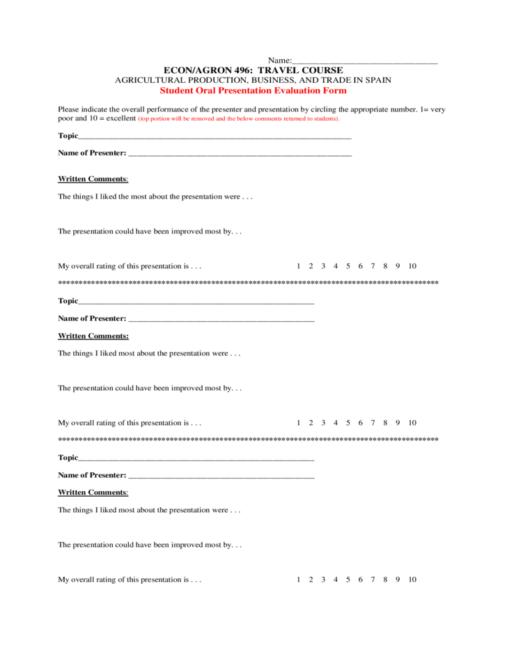 Oral Presentation Evaluation Sample Form Free Download