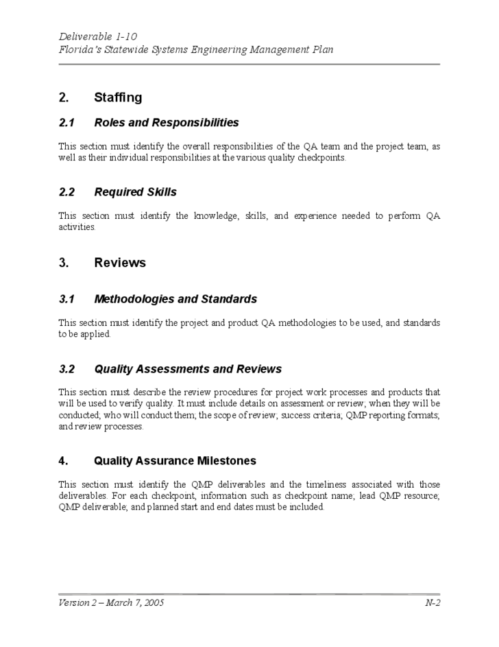 Quality Management Plan Template Free Download