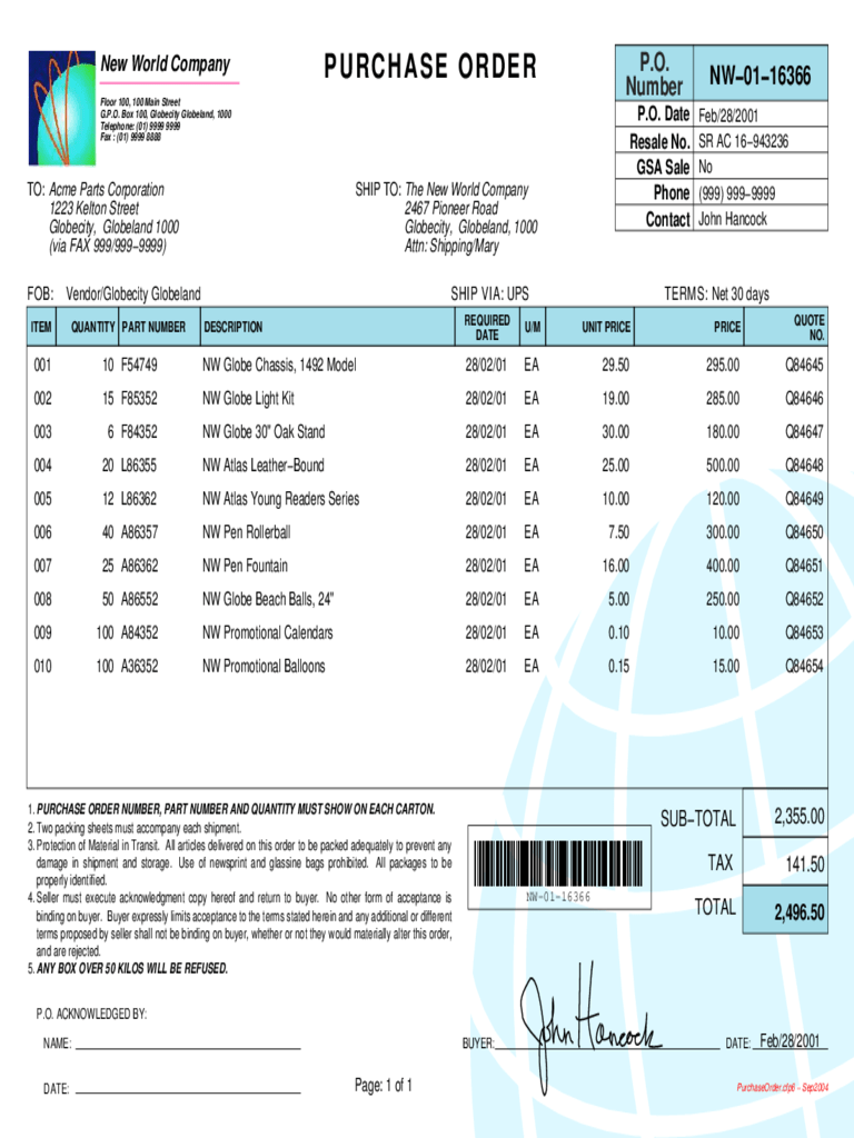 Purchase Order Template  75 Free Templates in PDF Word Excel Download