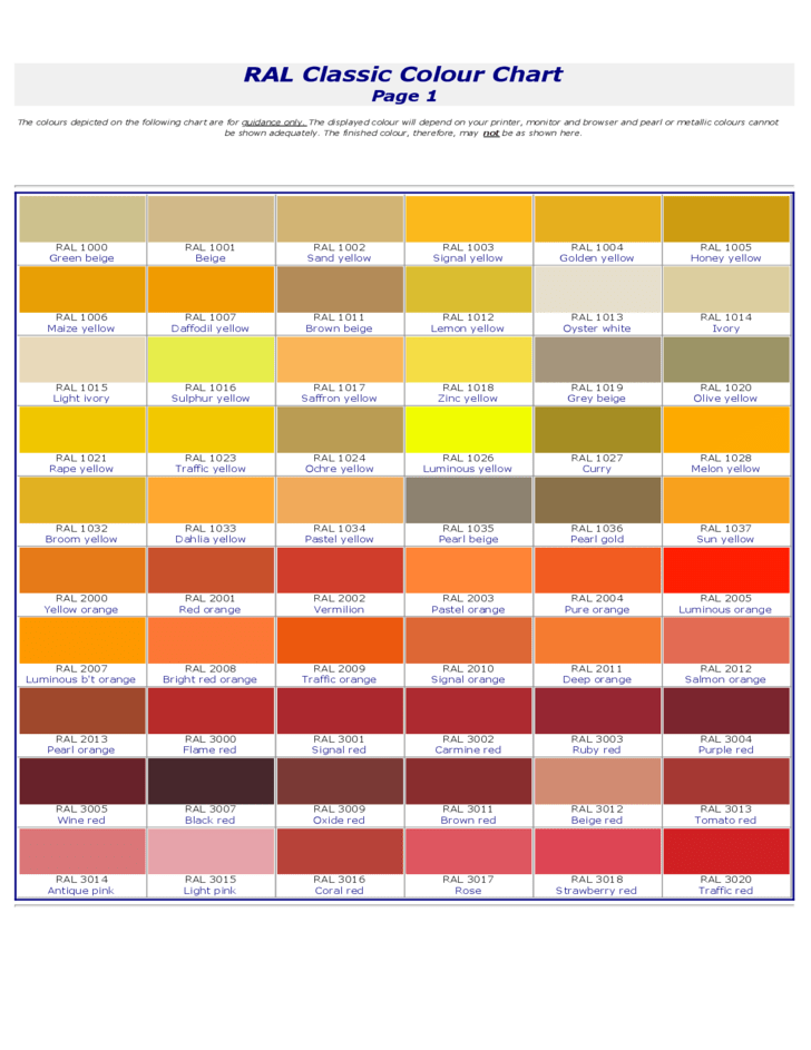 RAL Classic Color Chart Free Download