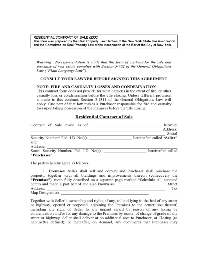 House Sale Contract Form New York Free Download